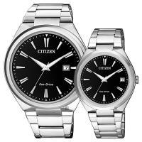 CITIZEN 星辰 光動能簡約對錶-黑x銀/41+35mm AW1370-51F+FE6020-56F