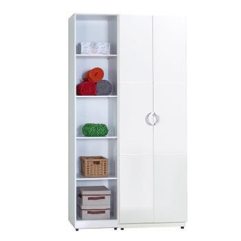 【AT HOME】凱倫4尺白色兩件組合衣櫃[雙吊+五格](110*54*197cm)