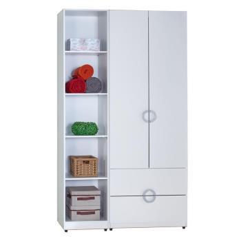 【AT HOME】凱倫4尺白色兩件組合衣櫃[二抽+五格](110*54*197cm)
