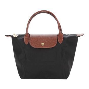 Longchamp 經典短提把防水尼龍 水餃包 肩背包-小 (黑)