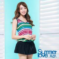 【夏之戀SUMMERLOVE】大女彩條連身裙二件式泳衣S17712