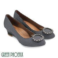 GREEN PHOENIX 國際精品圓形施華洛世奇燙鑽水玉點點楔型包鞋U28-2A903