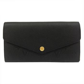 LV M61182 Sarah 經典花紋全皮革壓紋扣式長夾(黑色)
