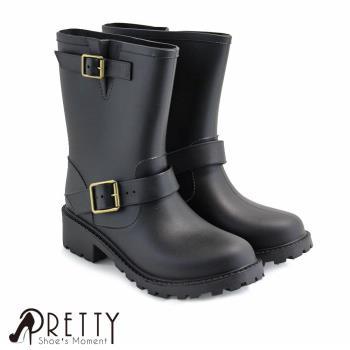 Pretty 個性皮帶扣飾中筒雨靴C-20905