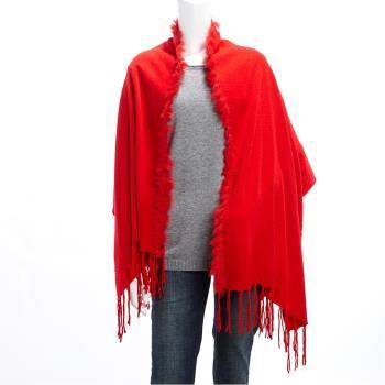 【A3 】低調華麗-皮草羊毛披肩圍巾 兩用 (共4色)