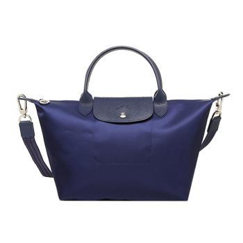 Longchamp Le Pliage Neo系列 尼龍短把手提/側背 二用包-小 (深藍)