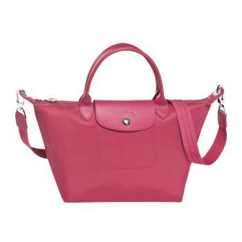 Longchamp Le Pliage Neo系列 尼龍短把手提/側背 二用包-小 (莓紅)