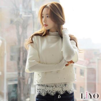 任-LIYO理優上衣假兩件蕾絲拼接女裝七分袖上衣E732028