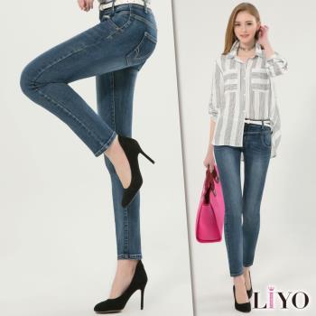 任-LIYO理優 褲子窄管小腳刷白顯瘦超彈力提臀牛仔褲E741015