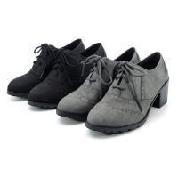 cher美鞋 MIT小尖頭雕花繫帶方跟牛津鞋.黑色/灰色-0750261316-18