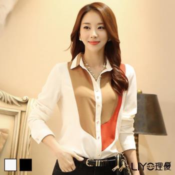 LIYO理優襯衫韓國雪紡拼接撞色OL顯瘦女長袖高檔襯衫E735004