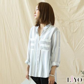 任-LIYO理優襯衫條紋大口袋OL寬鬆休閒女長袖襯衫L745001