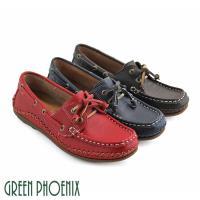 GREEN PHOENIX 經典綁帶縫線全真皮休閒帆船鞋U60-23035