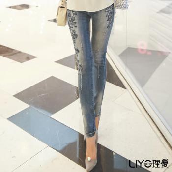 任-LIYO理優褲子顯瘦窄管提臀鬆緊牛仔褲E711005