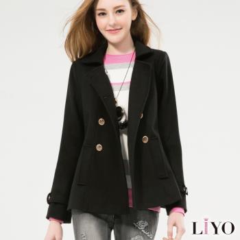 任-LIYO理優外套英倫風雙排扣顯瘦軍裝短版西裝大衣E748008