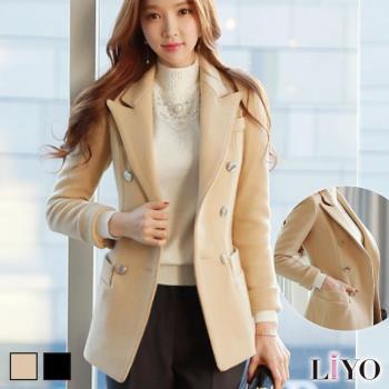 任-LIYO理優外套翻領顯瘦雙排扣口袋名媛女西裝毛呢保暖大衣E748007