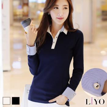 任-LIYO理優襯衫撞色翻領修身OL彈力顯瘦女裝長袖上衣E745023
