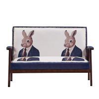 【AT HOME】時尚設計鉚釘兔子先生木扶手雙人沙發(112*63*75cm)