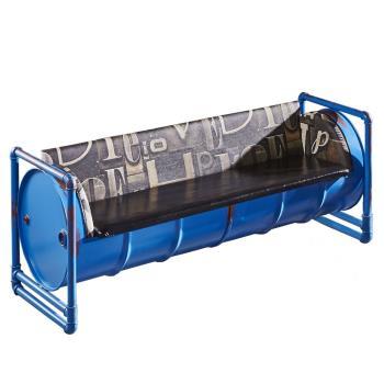 【AT HOME】工業風設計加侖藍色仿舊油桶三人皮沙發(180*65*73cm)