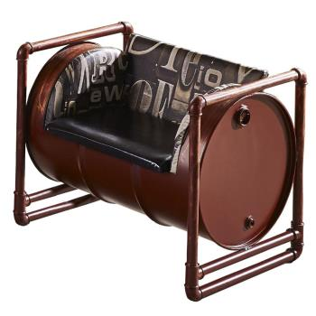 【AT HOME】工業風設計加侖酒紅色仿舊油桶單人皮沙發(91*65*73cm)