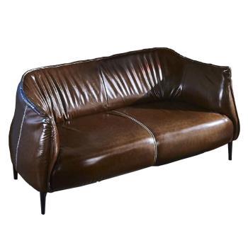 【AT HOME】工業風設計實木骨架鬱金香咖啡色皮革雙人沙發(150*80*75cm)