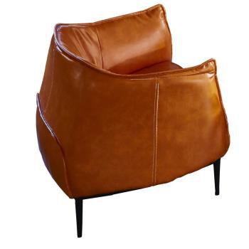 【AT HOME】工業風設計實木骨架鬱金香橘色皮革單人沙發(85*80*75cm)