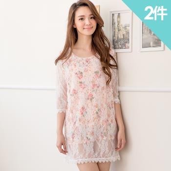 iima 漾彩繽紛蕾絲七分袖洋裝2件組