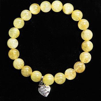 【A1寶石】雙倍吸金-頂級鈦晶-鈦金圓珠手鍊(含開光)