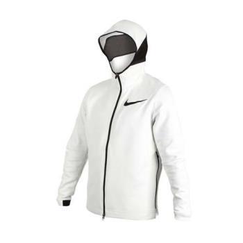 NIKE 男針織外套-慢跑 路跑 連帽外套 立領外套 白黑