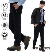 遊遍天下 男款3D顯瘦防水防風禦寒軟殼刷毛褲/黑