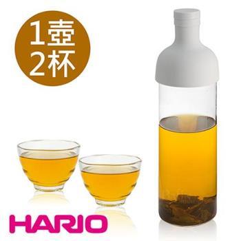 日本 HARIO 750ml酒瓶冷泡茶壺及雲吞耐熱杯組