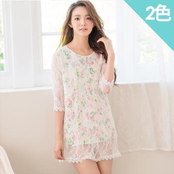 iima 花朵蕾絲七分袖洋裝(粉紅花朵/橘色花朵)