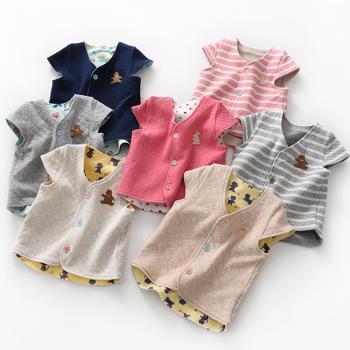 日本純棉兒童保暖空氣棉馬甲背心