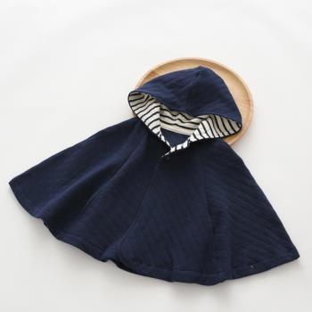 日本純棉兒童連帽斗篷披風保暖空氣棉外套