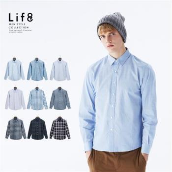 Life8-Casual 經典布紋 長袖襯衫-10006