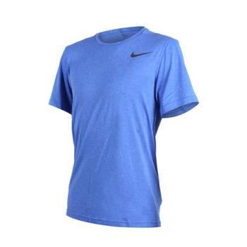 NIKE 男短袖上衣-短T T恤 訓練 健身 慢跑 路跑 藍黑