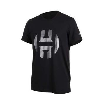 ADIDAS HARDEN LOGO男短袖上衣-短T T恤 詹姆士哈登 NBA 愛迪達 黑