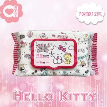 Hello Kitty 凱蒂貓 抑菌有蓋濕紙巾/柔濕巾(70抽 X 12包)