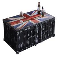 【AT HOME】工業風設計布雷克英國旗黑色貨櫃茶几(120*60*51cm)