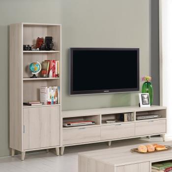 Bernice-艾奇7.8尺簡約L型電視櫃組合(展示櫃+長櫃)