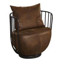 【AT HOME】工業風設計柵欄式鐵藝仿舊文樂咖啡沙發椅(71*59*67cm)