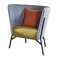 【AT HOME】工業風設計仿舊杰倫雙色灰藍皮沙發椅(75*71*87cm)