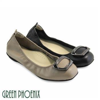 GREEN PHOENIX 梯形金屬裝飾全真皮平底娃娃鞋U73-22555