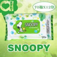 SNOOPY史努比 綠茶濕紙巾/柔濕巾(70抽x12包)