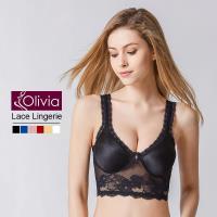 【Olivia】無鋼圈性感無痕蕾絲美背薄款內衣(黑色)