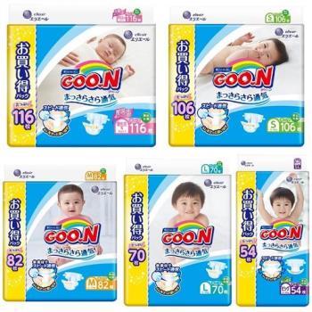 GOO.N日本大王尿布 黏貼型紙尿褲境內增量版(NB/S/M/L/XL)+洗衣球18入1盒