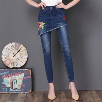 WHATDAY   假二件繡花牛仔裙+鉛筆長褲(共二色)S~4XL