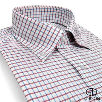 GIBBON 精紡格紋長袖襯衫‧咖啡