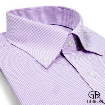 GIBBON 精紡格紋長袖襯衫‧紫色