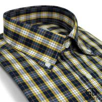 GIBBON 純棉格紋長袖襯衫‧藍黃格